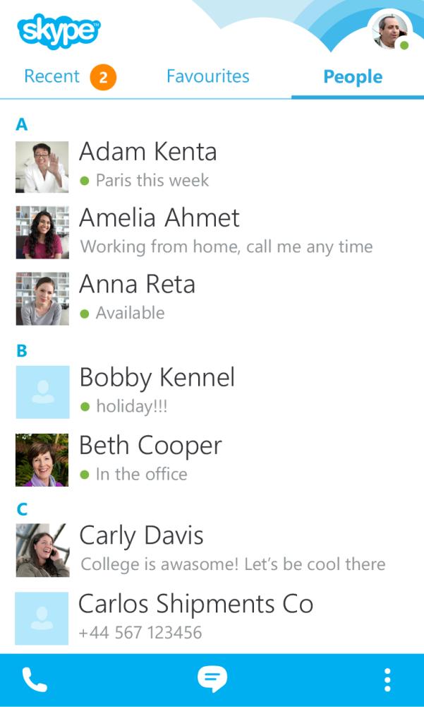 Контакты в Skype для BlackBerry