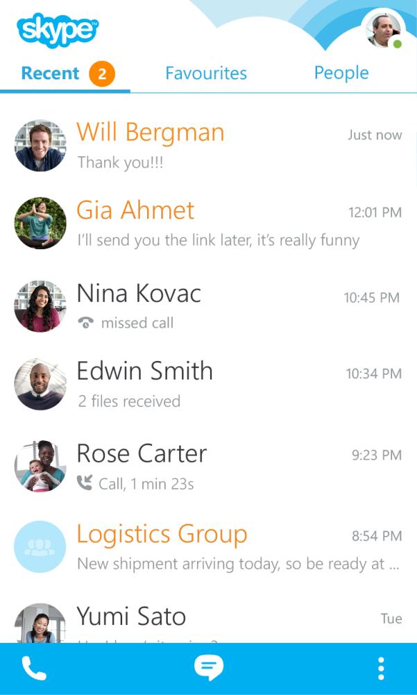 Недавние разговоры в Skype для BlackBerry