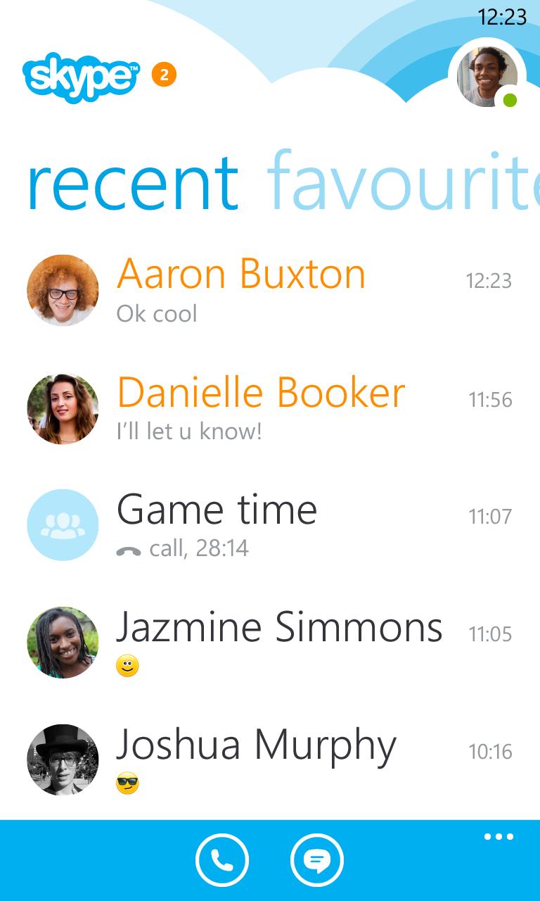 Последние разговоры в Skype для Windows Phone
