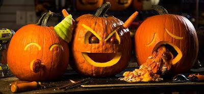 Тыквы для Хэллоуина в виде смайликов